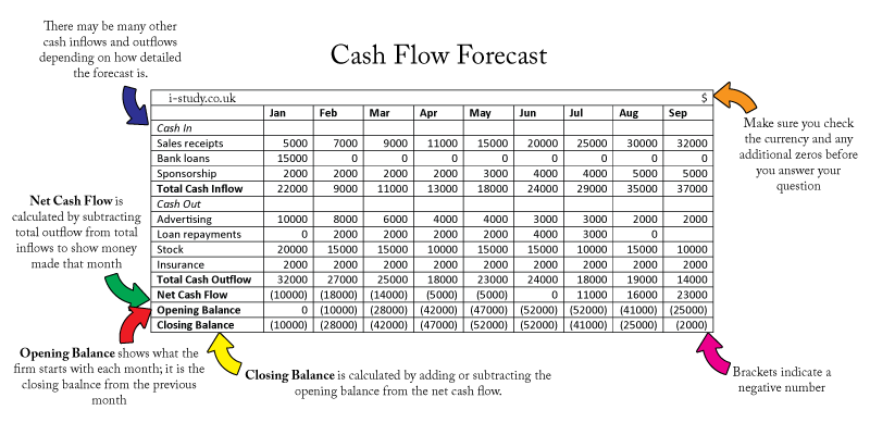 ib business studies cash flow forecast
